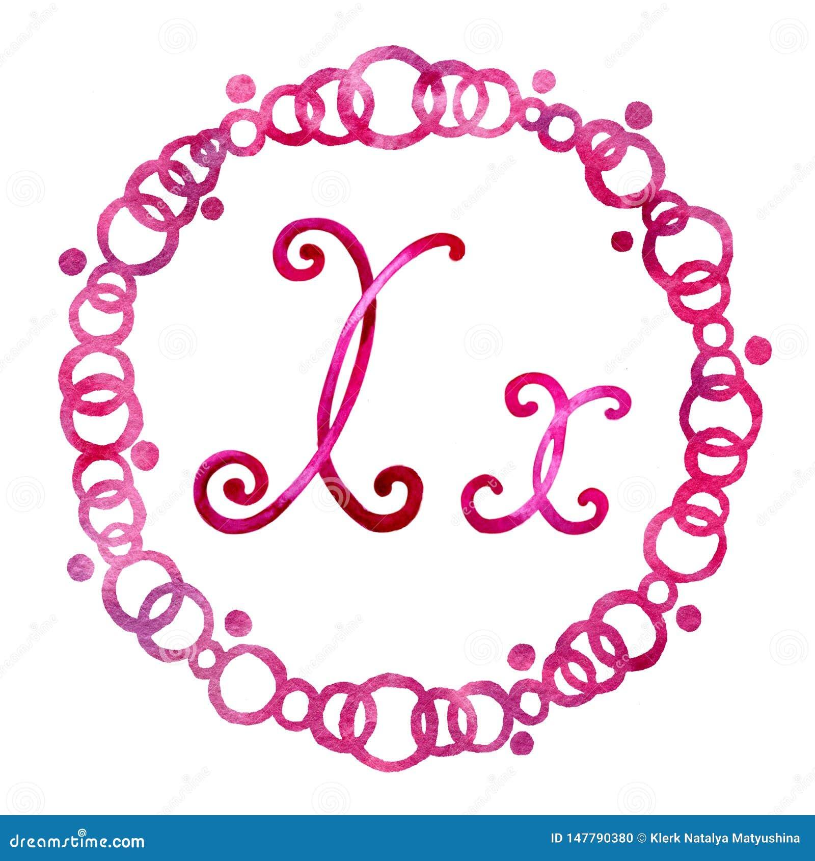 Engelse die alfabetbrief X, op een witte achtergrond, in een elegant met de hand geschreven kader wordt ge?soleerd, De tekening v