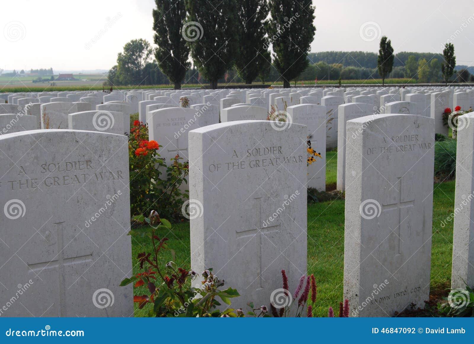 Engelse graven bij Tynecote-begraafplaats, België