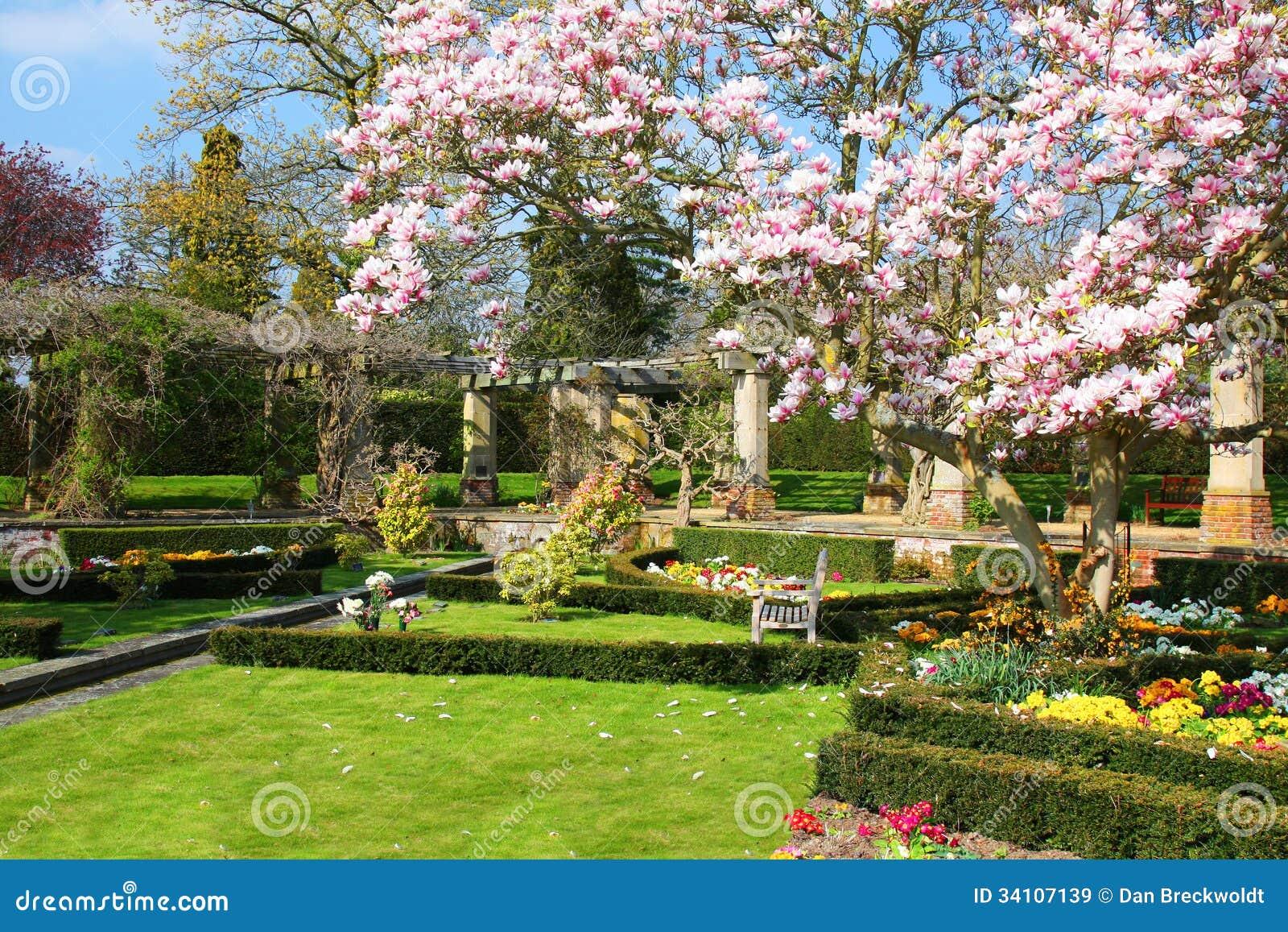 Engelse tuin in de lente stock afbeelding afbeelding for Jardin in english
