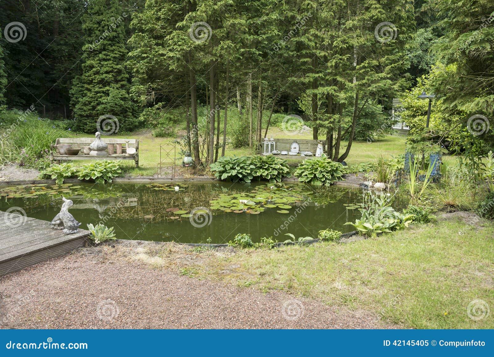 Engelse tuin met groene bomenplannen en vijver stock for Tuin en vijver