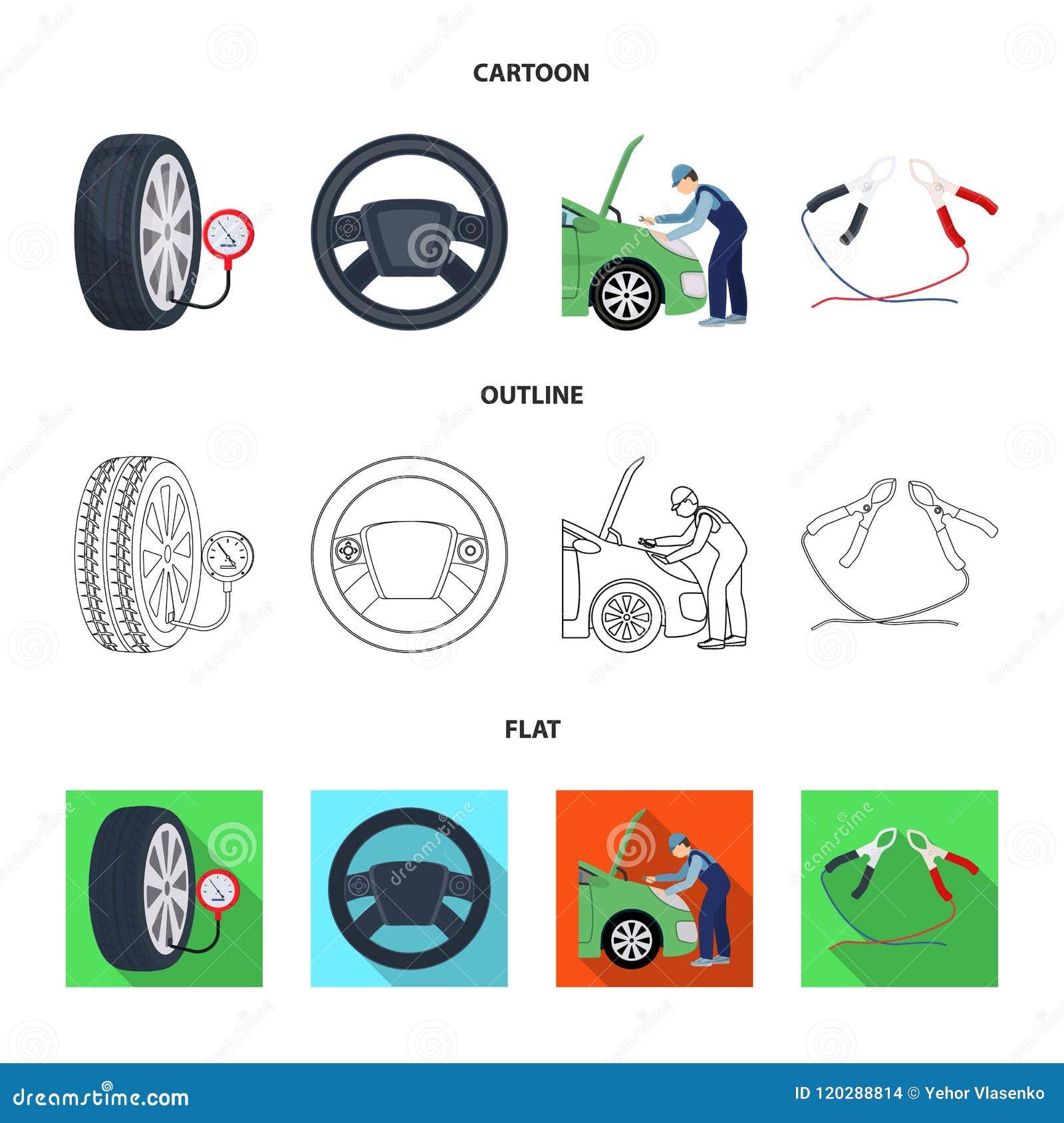 engine adjustment steering wheel clamp and wheel cartoon outline