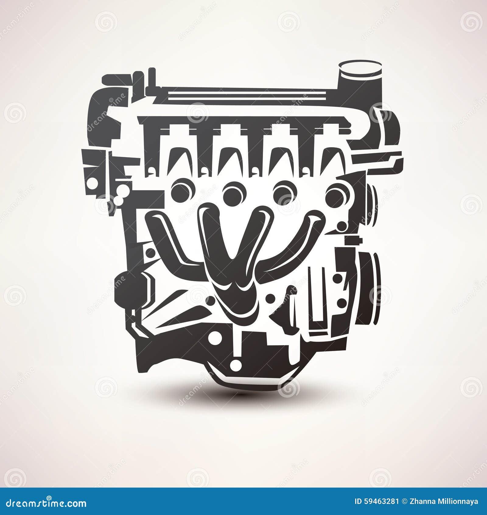 V8 Engine Animation Engine Car Symbol Stoc...