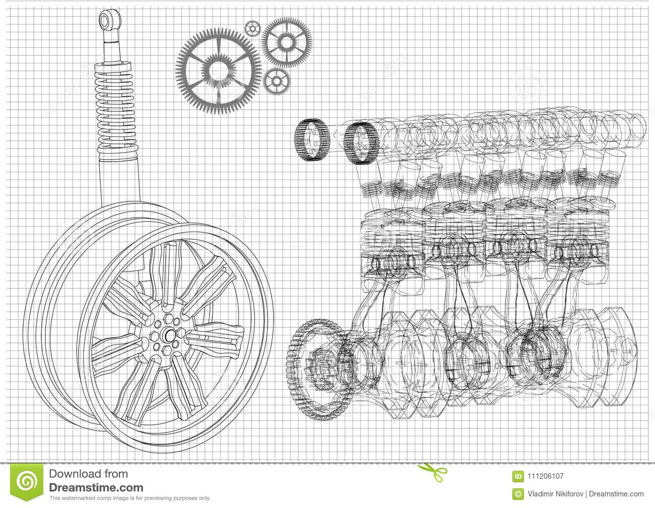 Engine And Car Wheel On A White Background Stock Vector ...