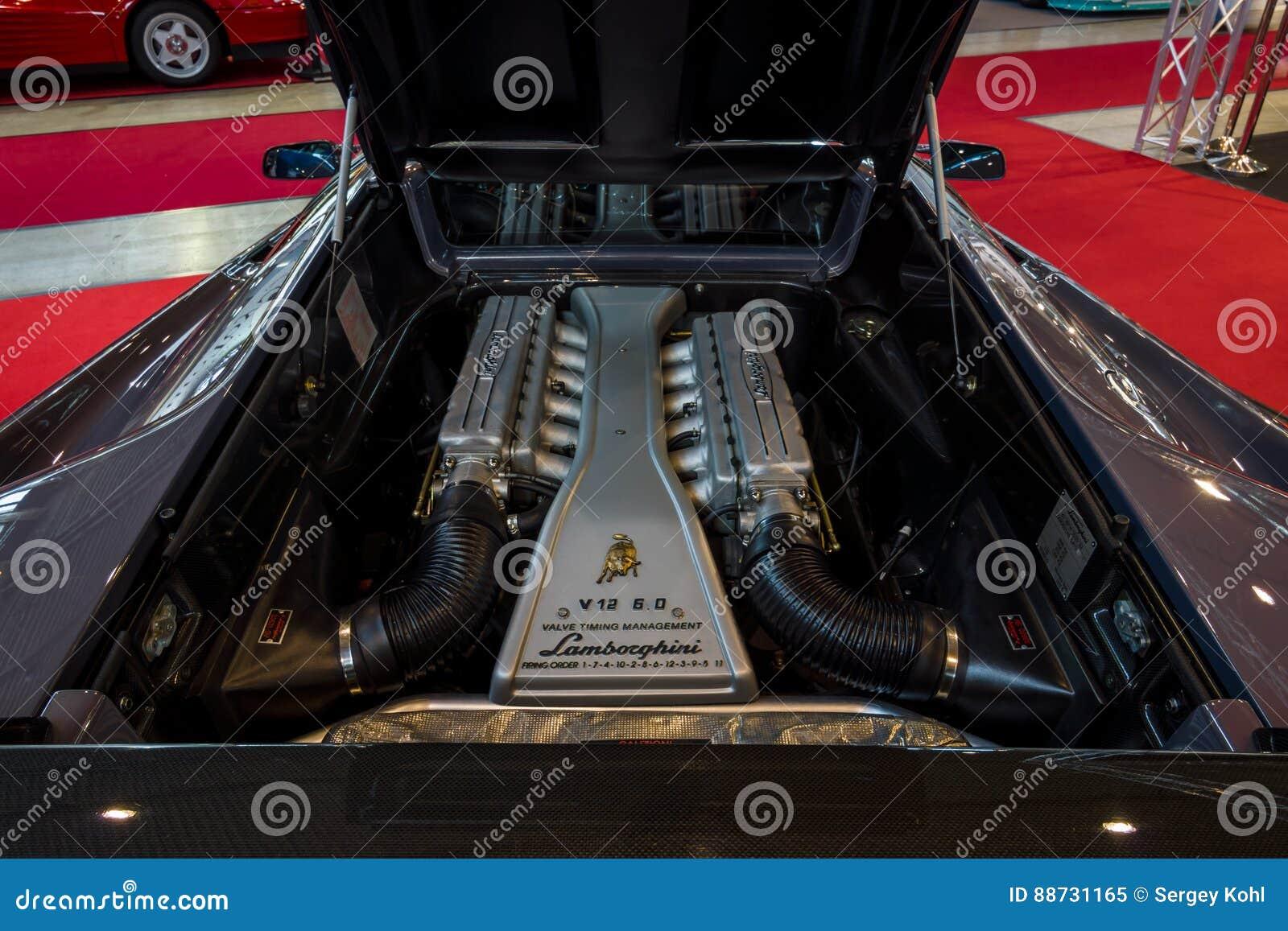 Engine Compartment Of A Sports Car Lamborghini Diablo Vt 6 0 2000