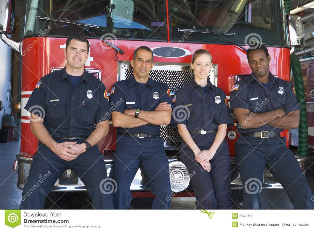 Engine fire firefighters portrait standing