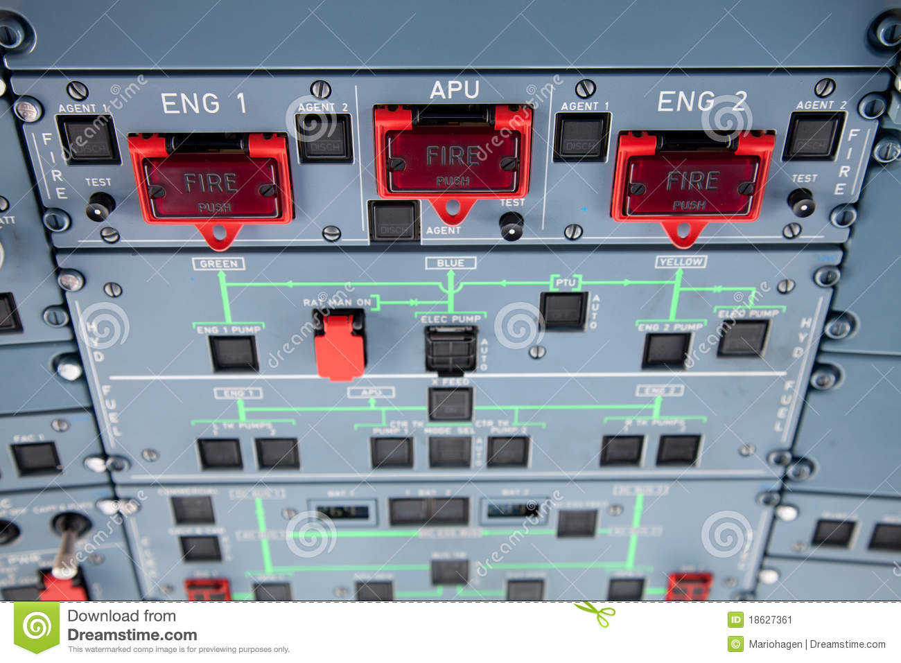 Overhead Aircraft Engine Control Lever : Engine fire warning switches stock image of