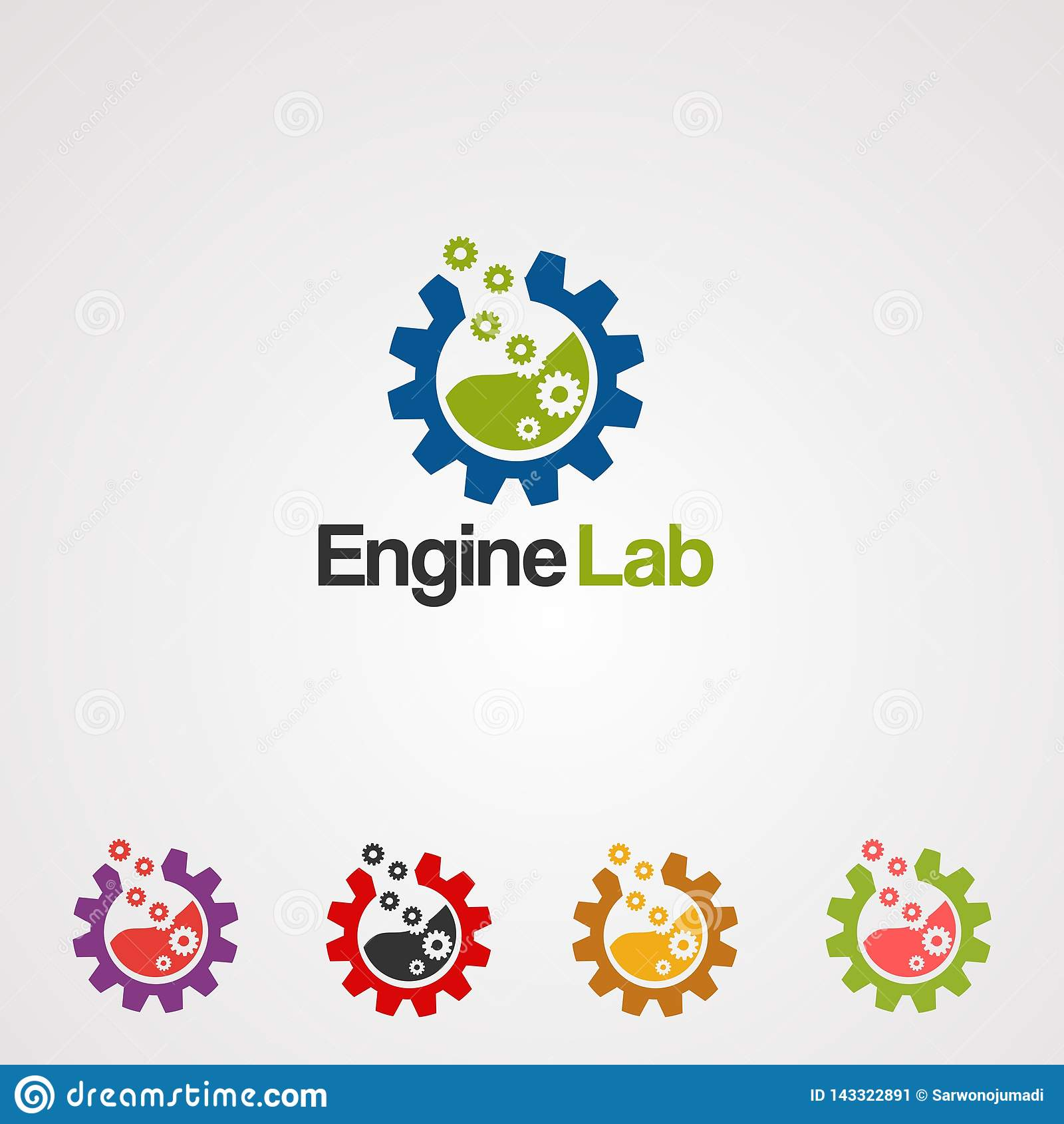 Engine lab with modern concept set logo vector, icon, element, and template for business