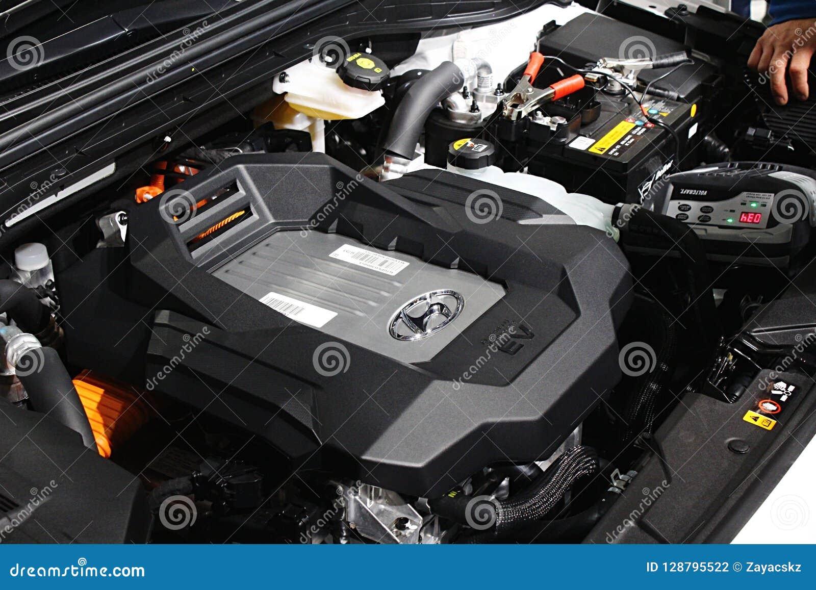 engine of modern hydrogen fuel cell powered suv car hyundai nexo