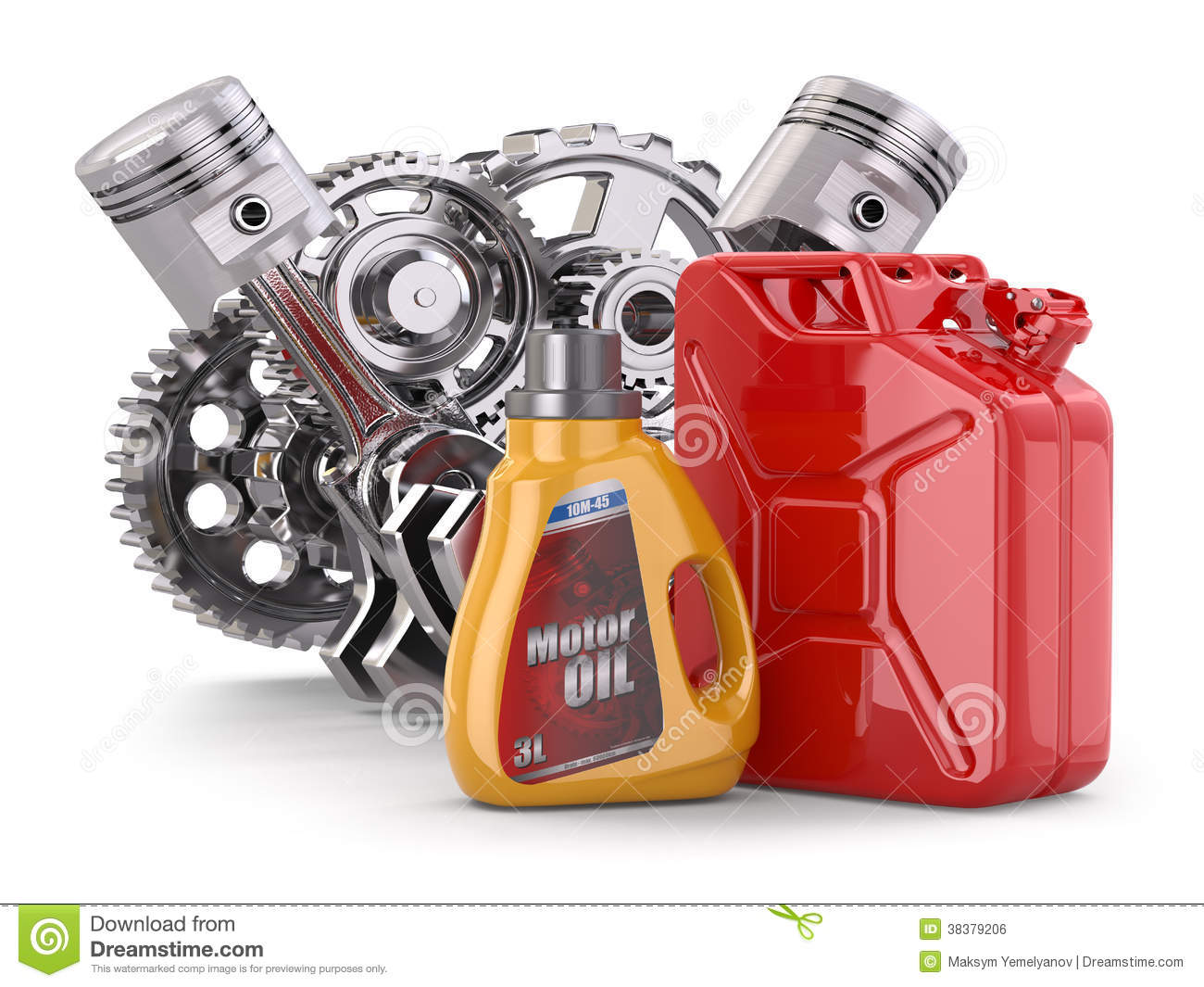 Engine, motor oil canister and jerrycan.