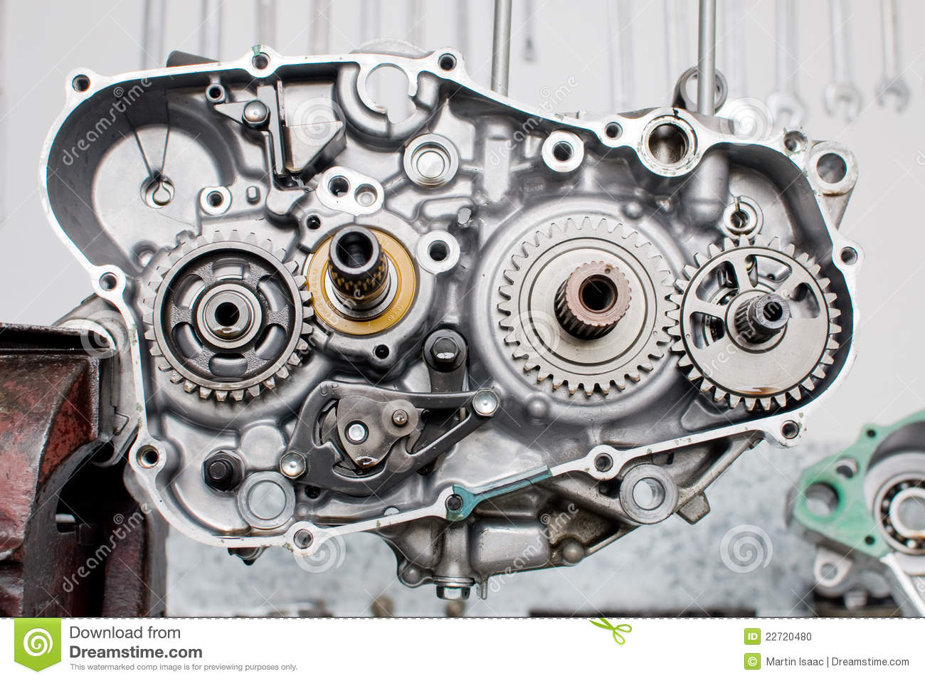 Motorcycle Motor Parts : Engine parts stock photo image of gears auto workshop