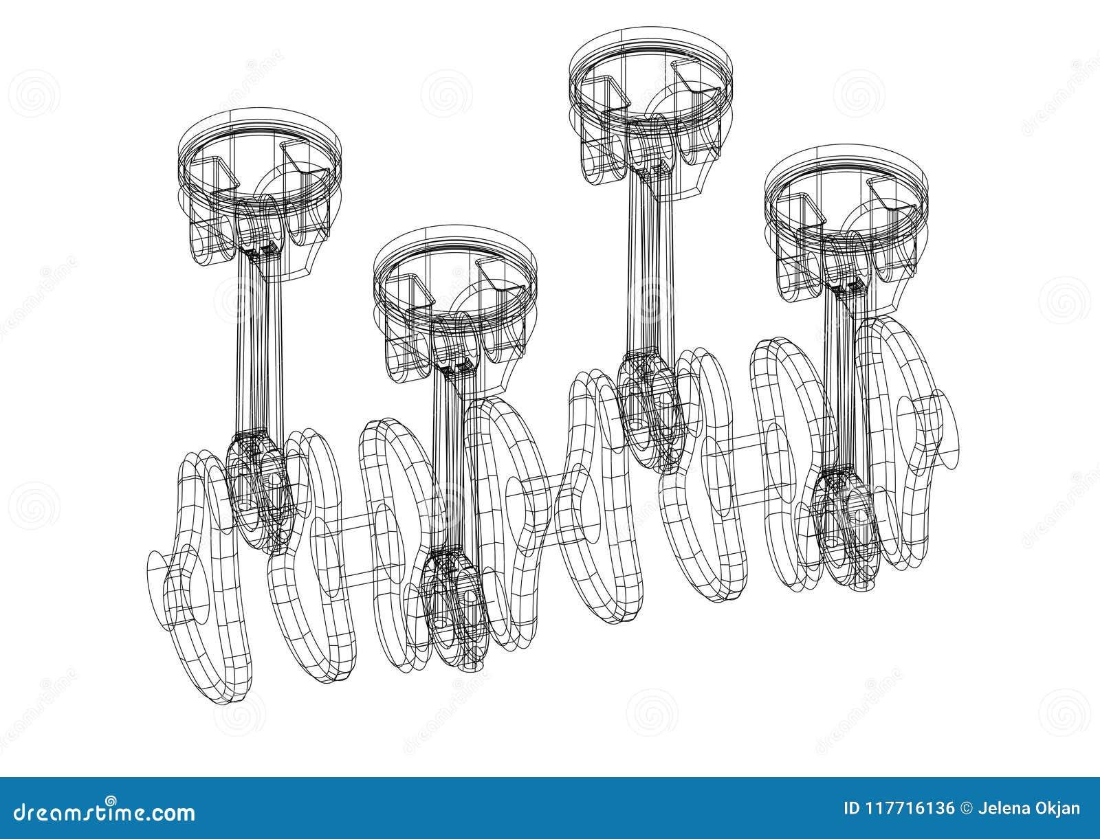 Engine Pistons Architect Blueprint Isolated Stock