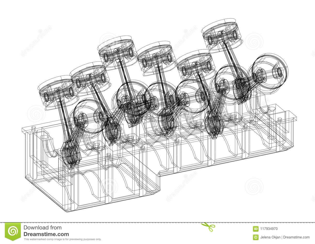 Engine Pistons Architect Blueprint Isolated Stock Illustration Steam Piston Diagram Download Of Architectural Energy