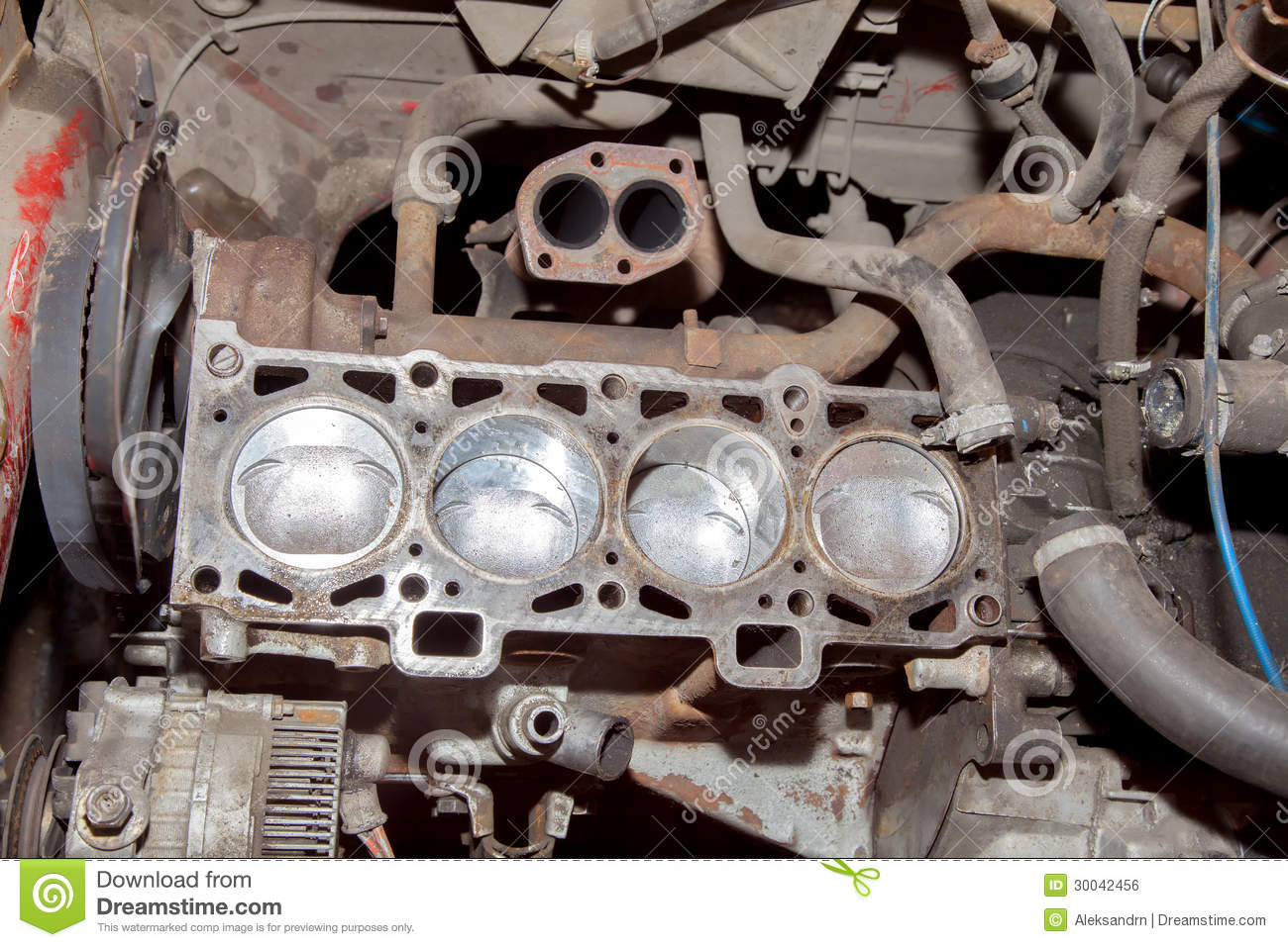 Engine Repair The Old Car Royalty Free Stock Image Image 30042456
