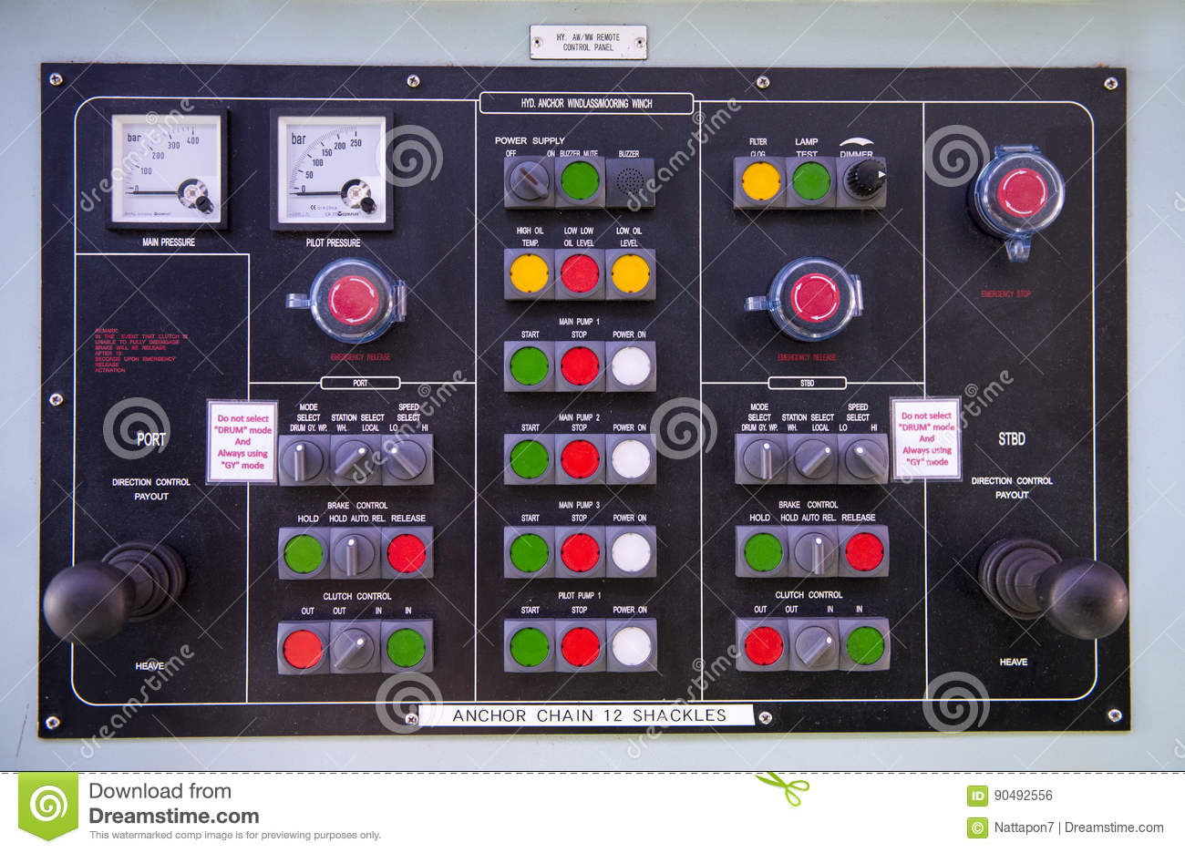 Engine Control Console : Engine room console control panel on tanker stock photo