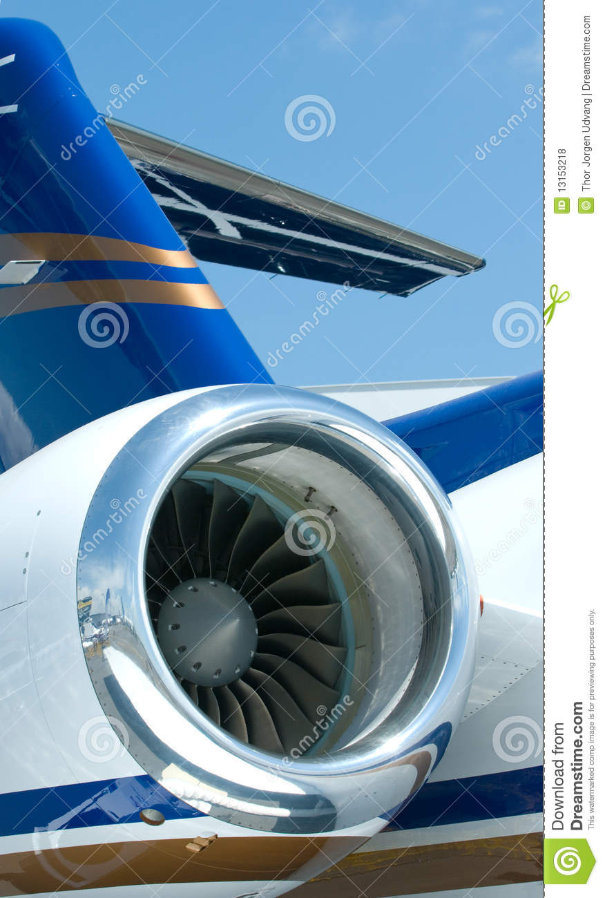Engine and tail detail of business jet.