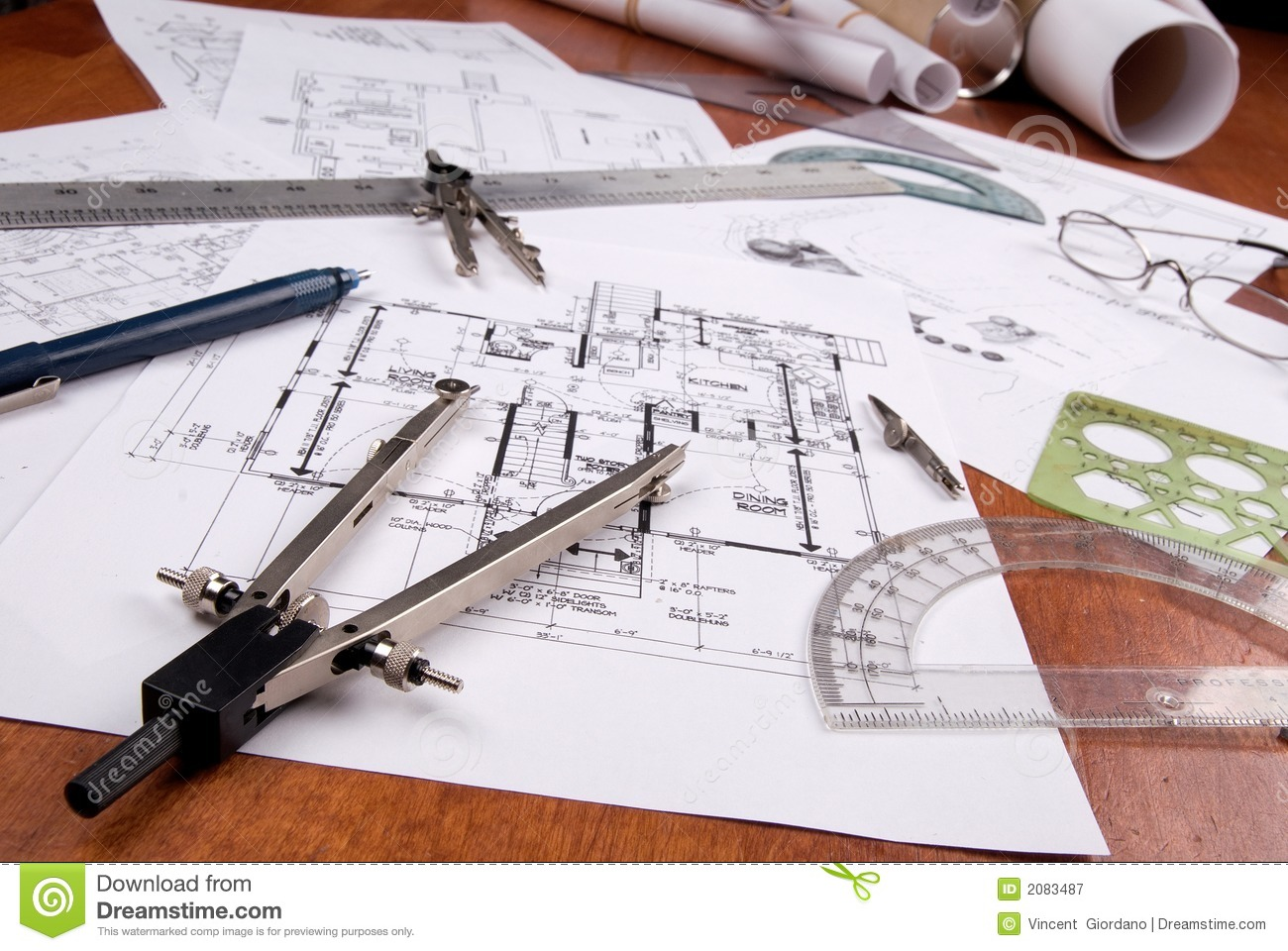 Engineer architect or contractor plans and tools royalty for Architect online free
