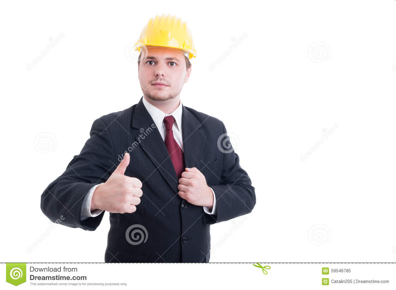 Engineer Or Architect Wearing Suit Tie And Hardhat Stock