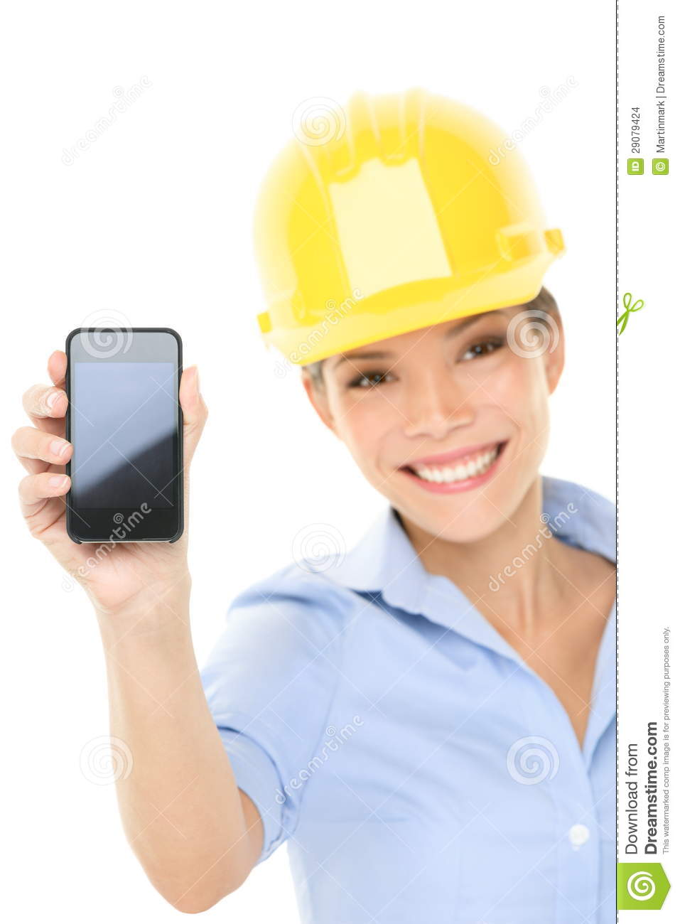 Engineer Or Architect Woman Showing Smart Phone Stock
