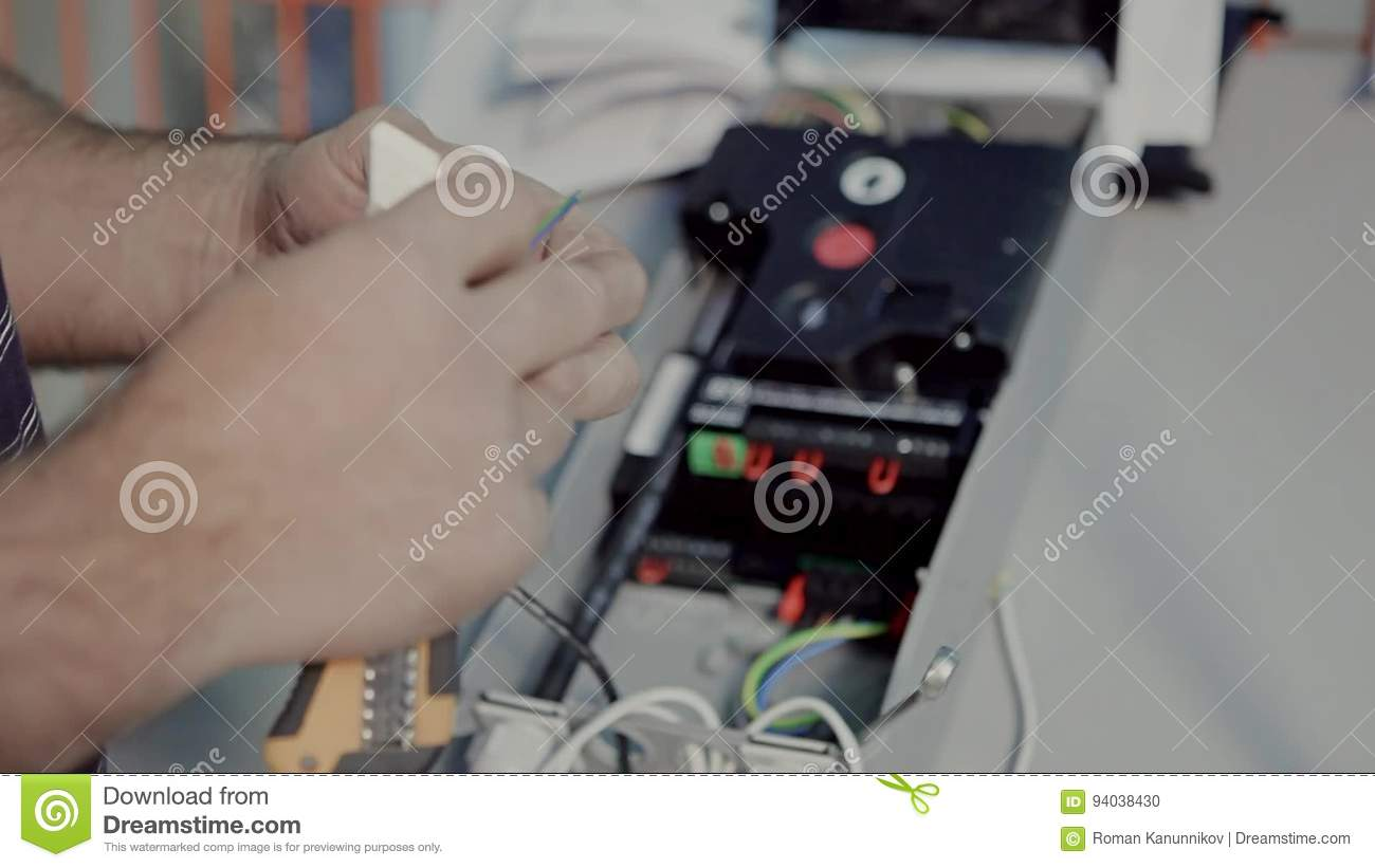 Engineer Connects A Wire To The Machine Stock Footage - Video of ...