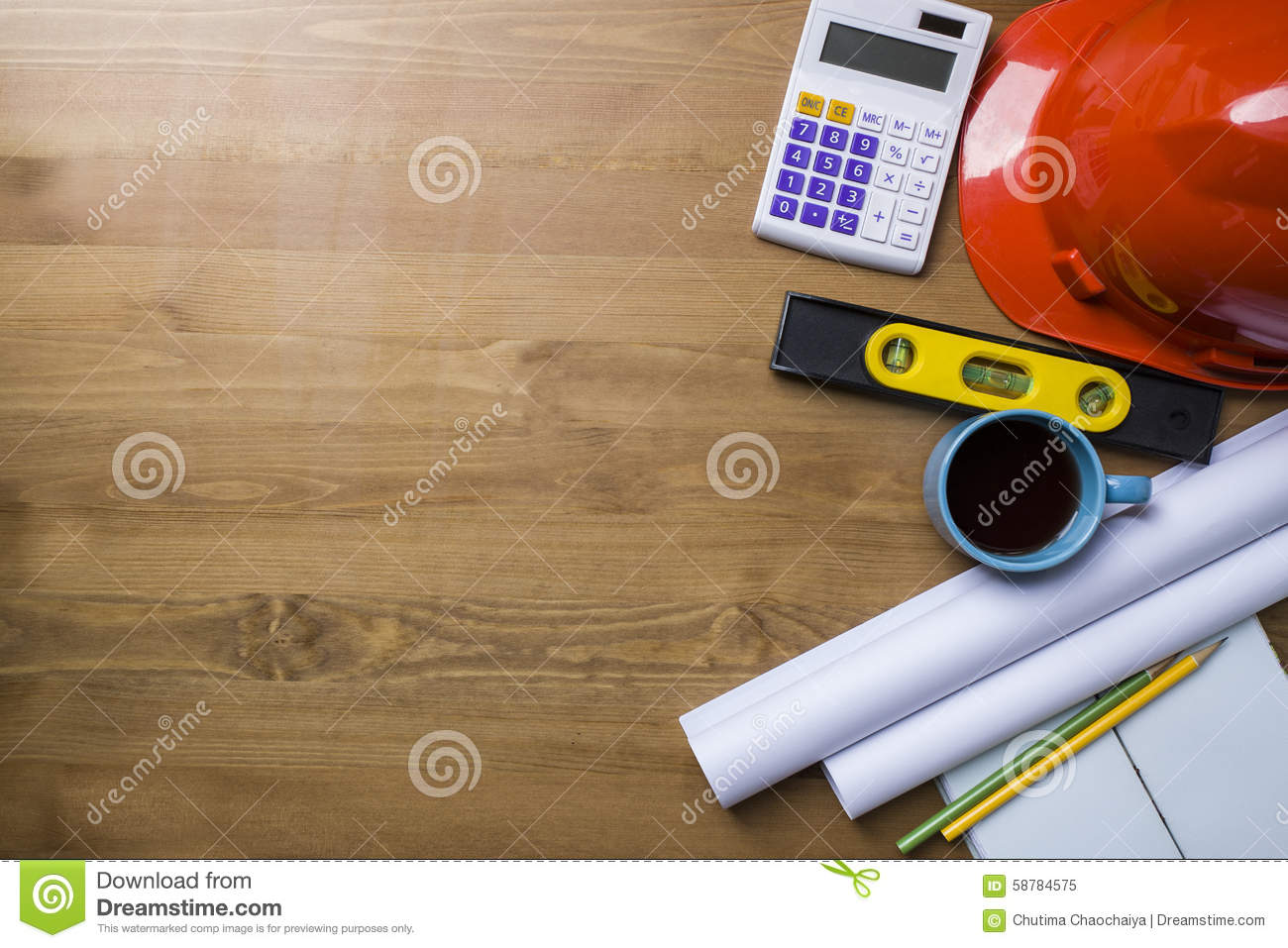 Engineer desk and project ideas concept