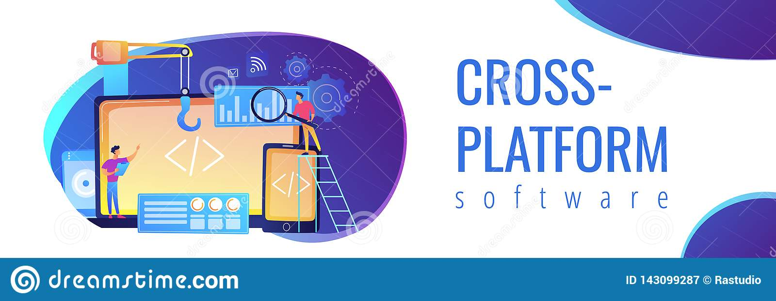 Cross-platform Development Concept Banner Header  Stock Vector