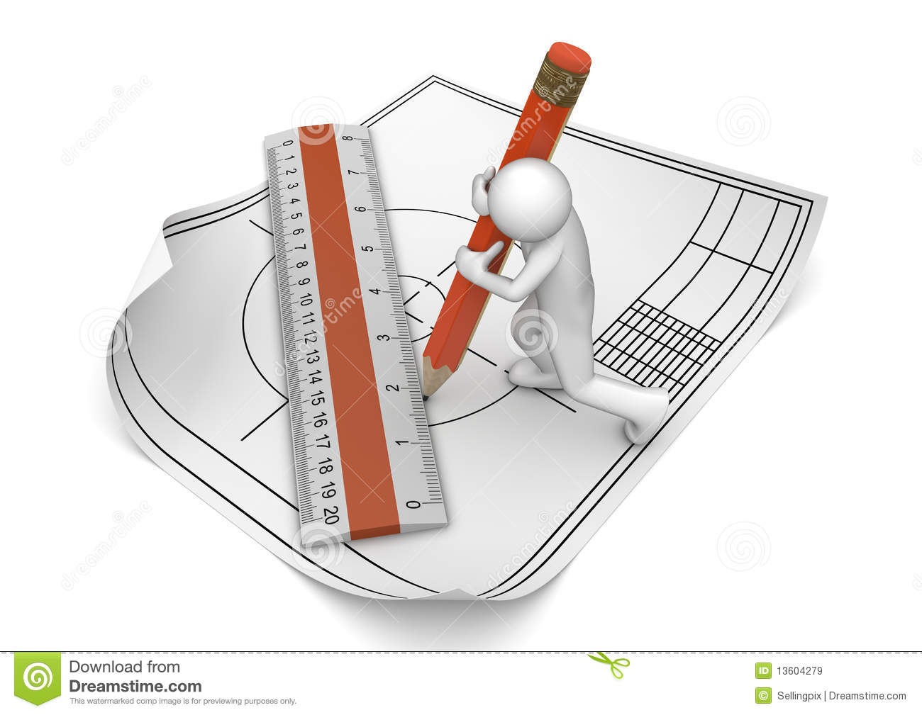 Engineer Drawing With Pencil And Ruler Royalty Free Stock