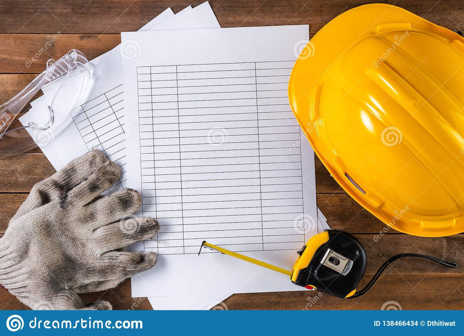 Engineer Or Foreman Safety Equipment And Blank Schedule Stock Photo