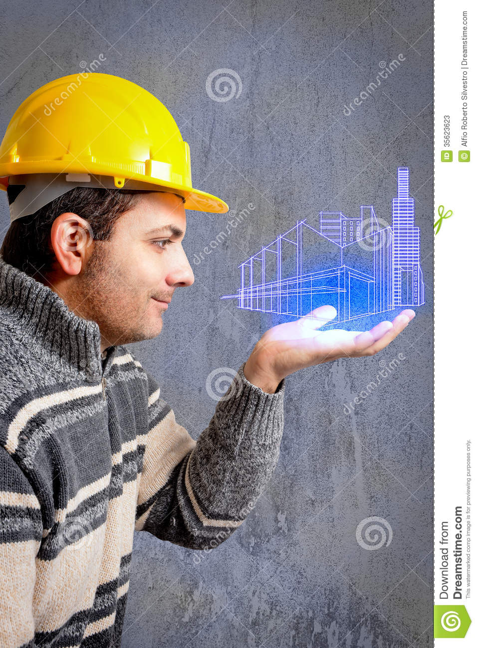 Engineer With A Helmet On His Head Stock Photos - Image ...