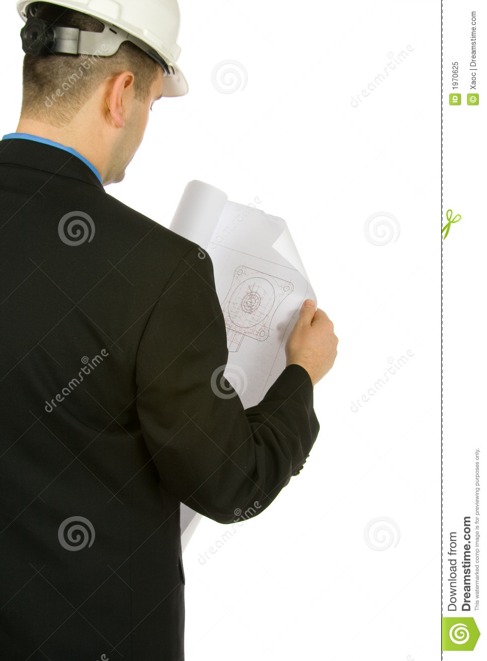 Engineer inspecting a drawing