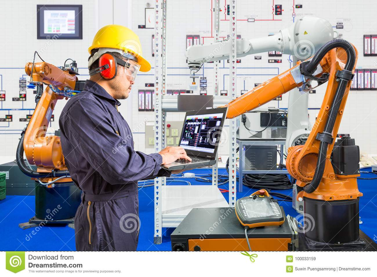 Download Engineer Install And Testing Industry Robotic In Manufacturing Stock Image - Image of industry, equipment: 100033159