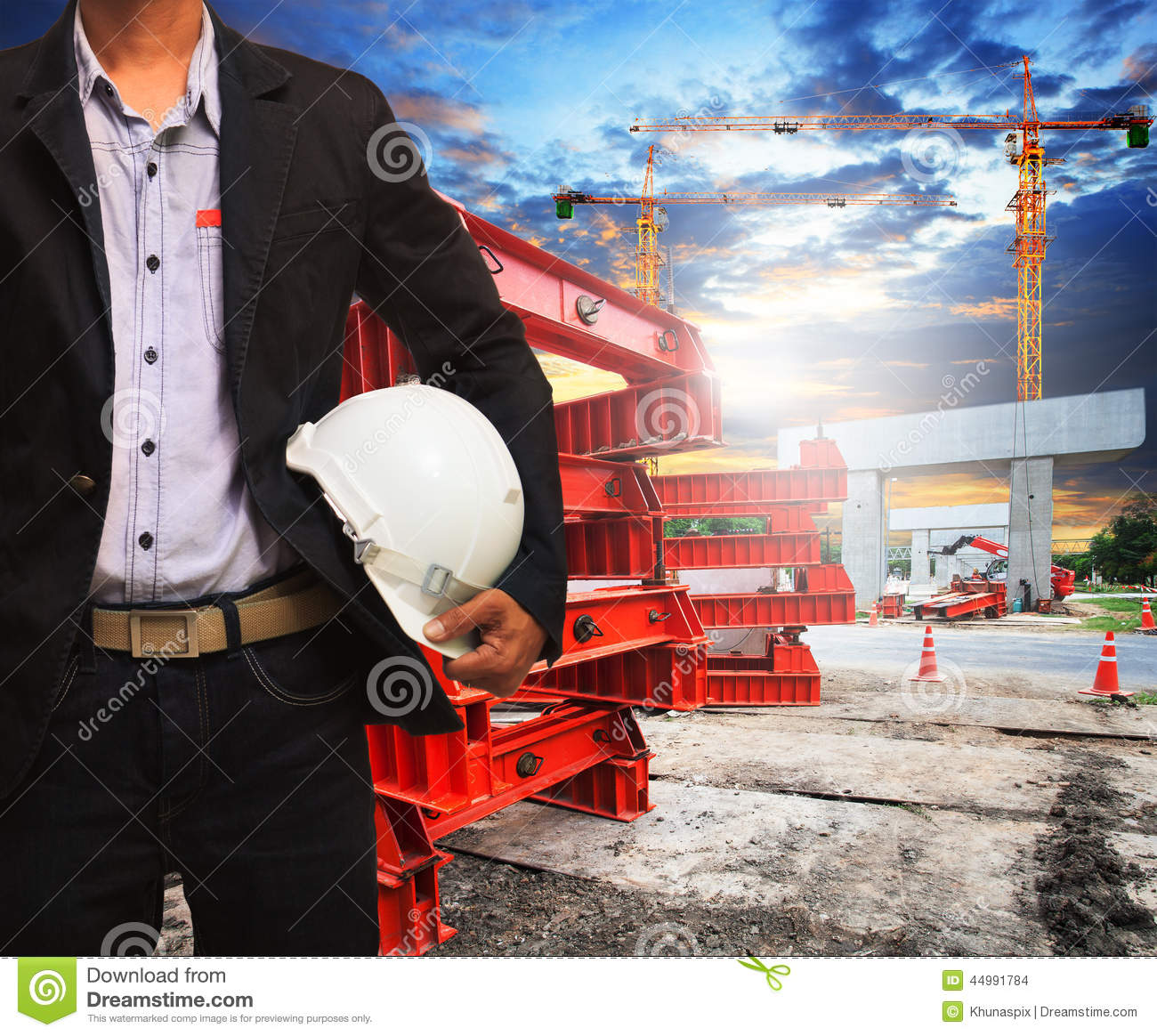 Engineer Man With Safety Helmet Working In Road And Bridge
