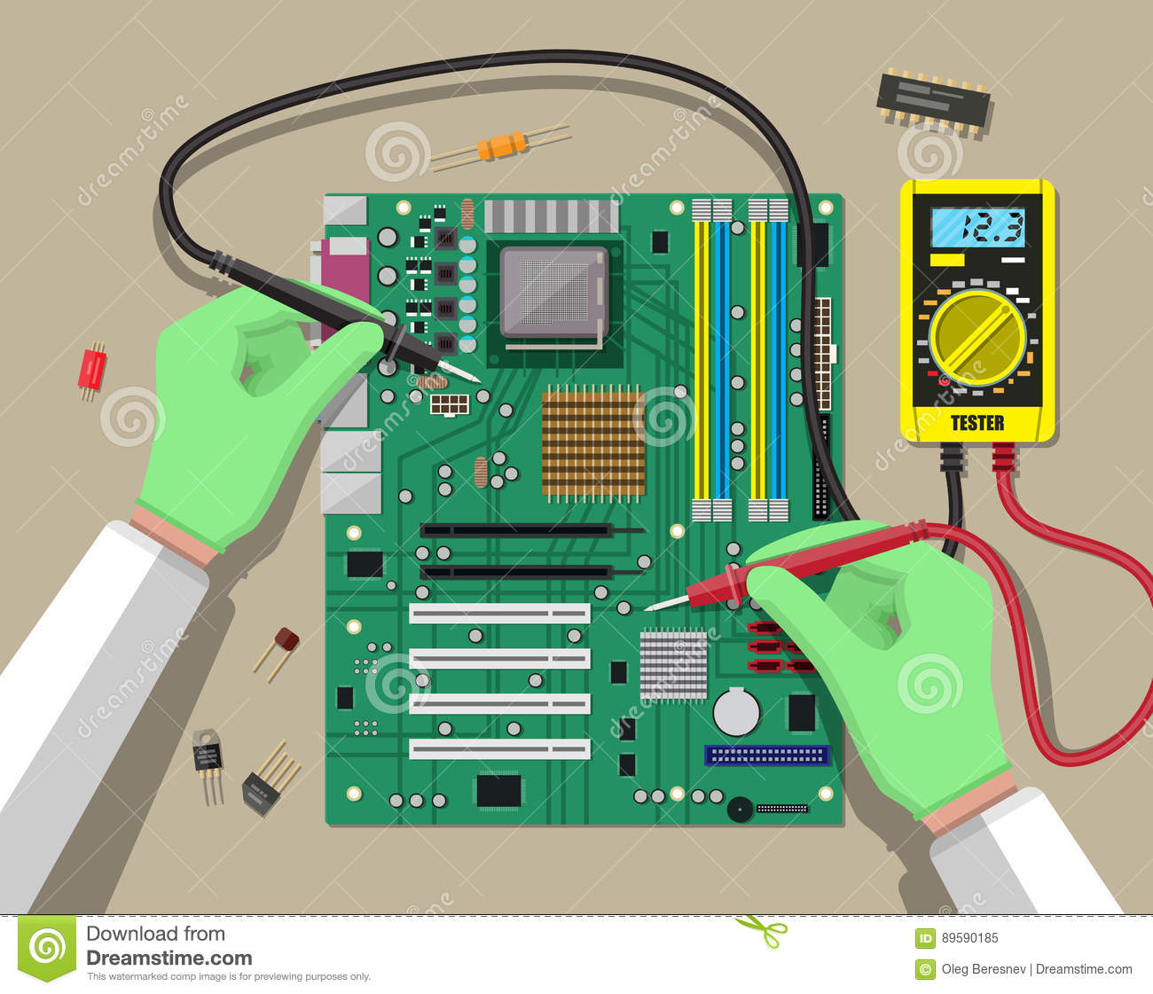 Engineer With Multimeter Checks Motherboard Stock Vector Digital Using 8051 Schematic