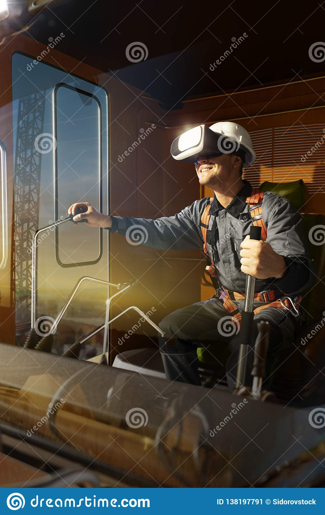 Engineer operator crane trying VR headset and exploring another world