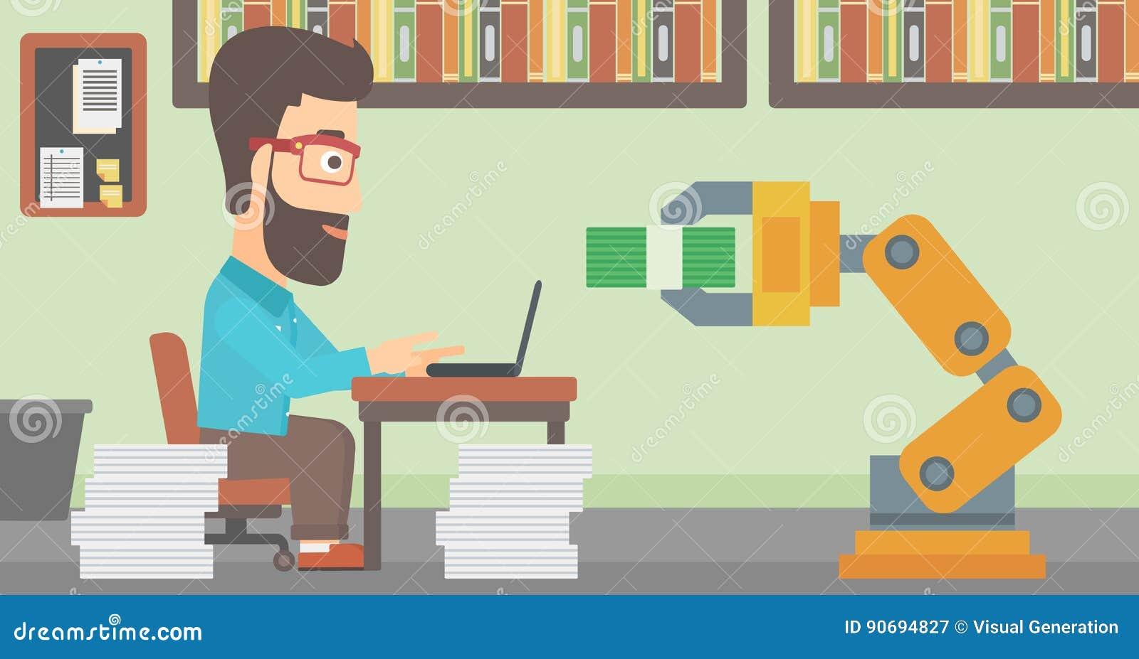 Engineer Programming A Robotic Hand Stock Vector Illustration Of