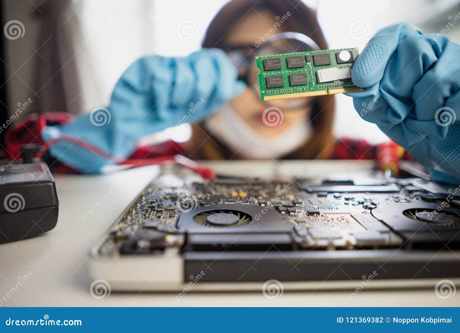 Engineer Repairs Laptop Support Fixing Notebook Computer Stock Repairing Circuit Board Royalty Free Photo Image