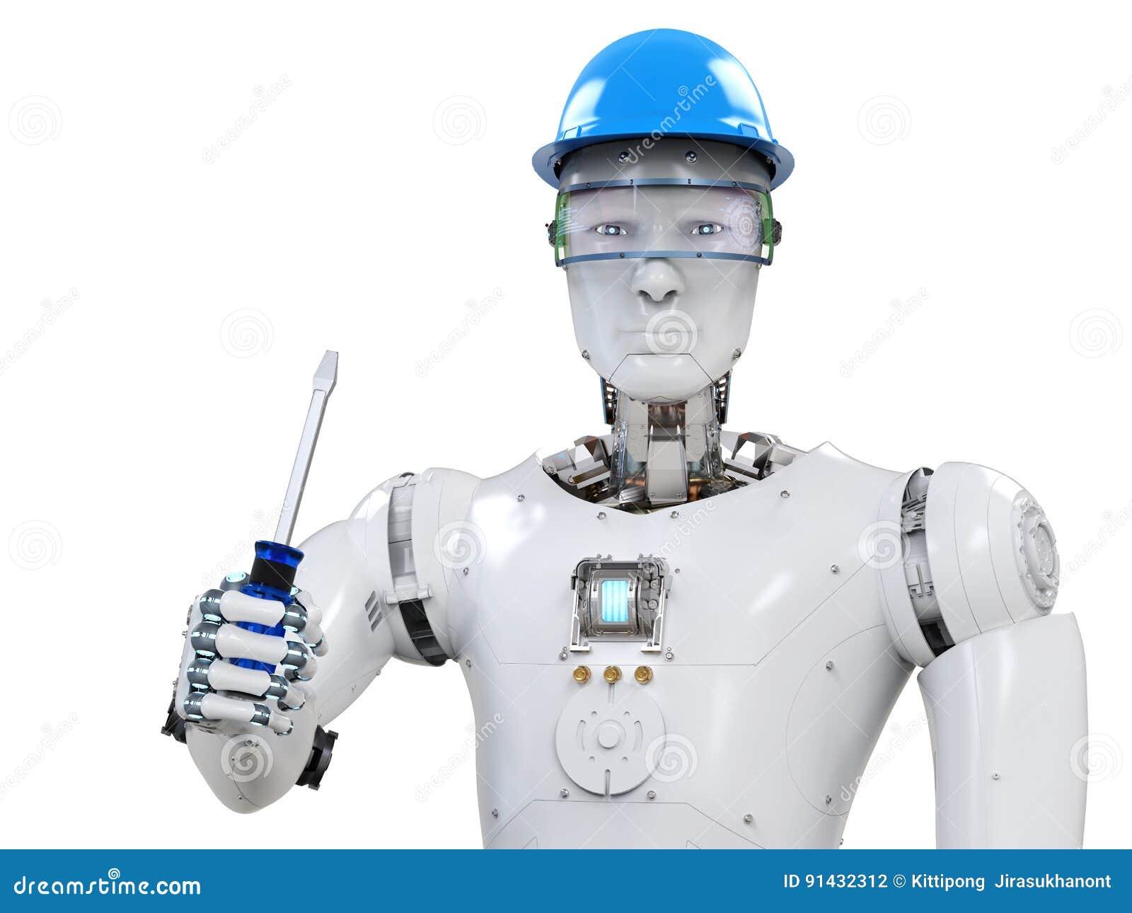 Engineer robot wearing safety helmet