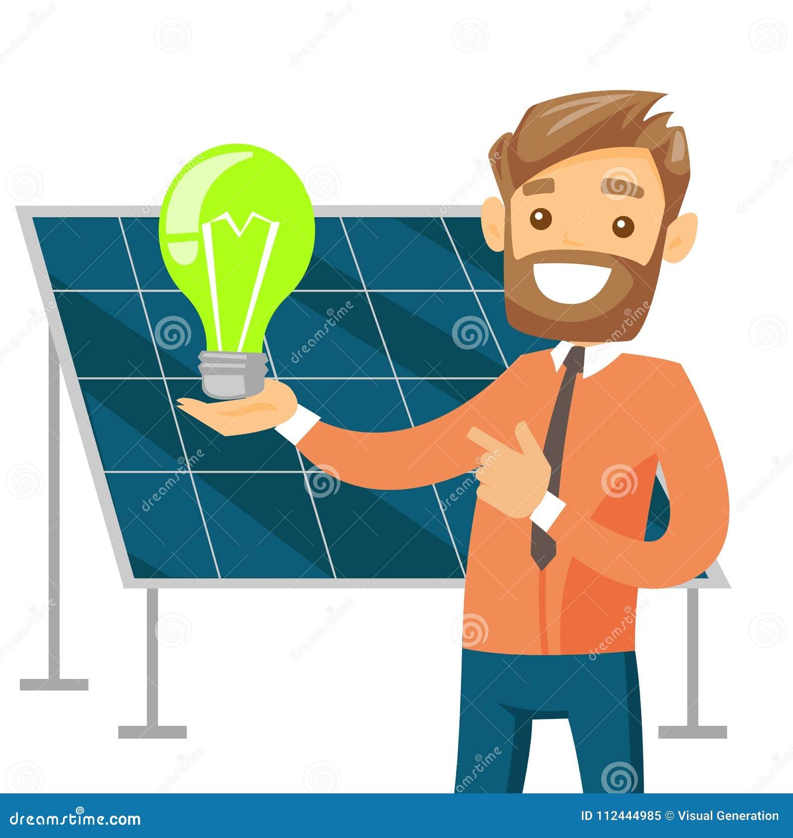 Engineer Of Solar Power Plant Holding Lightbulb  Stock