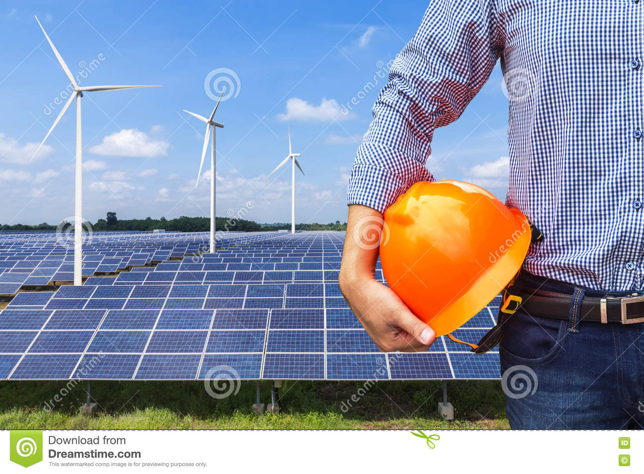 Engineer Stand Holding Yellow Safety Helmet Front Solar