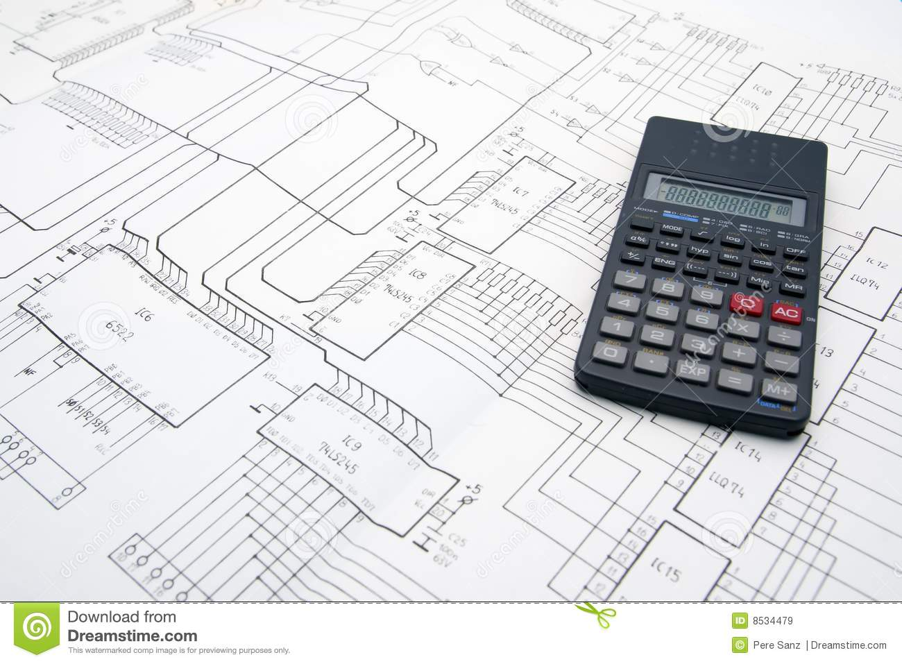 Engineer Table With Schematics And Calculator Stock Image