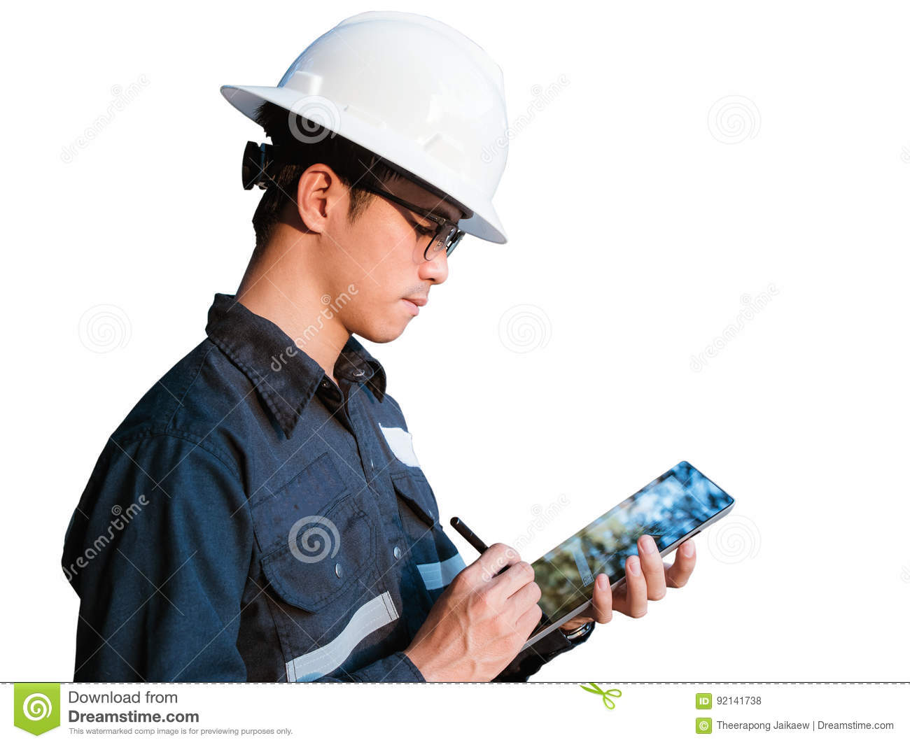 Engineer or Technician in white helmet, glasses and blue working