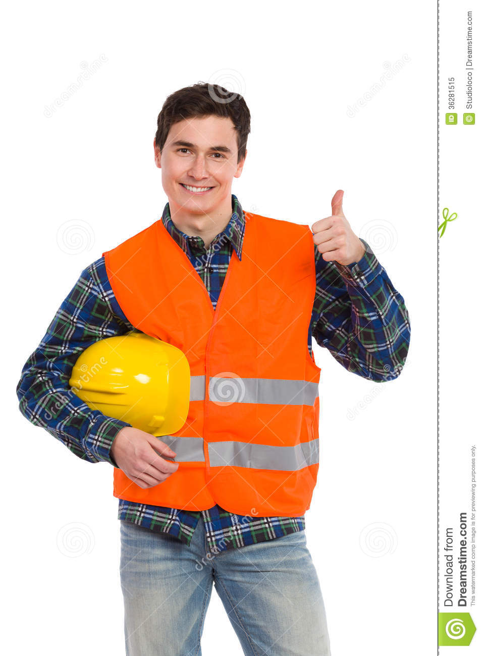 engineer wearing reflective clothing and showing thumb up  royalty free stock photo