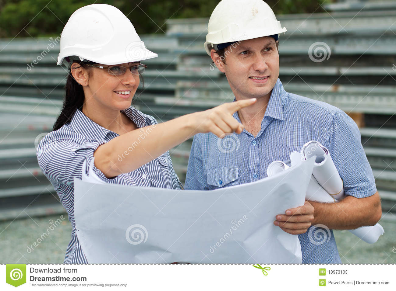 Engineer woman shows around the on site