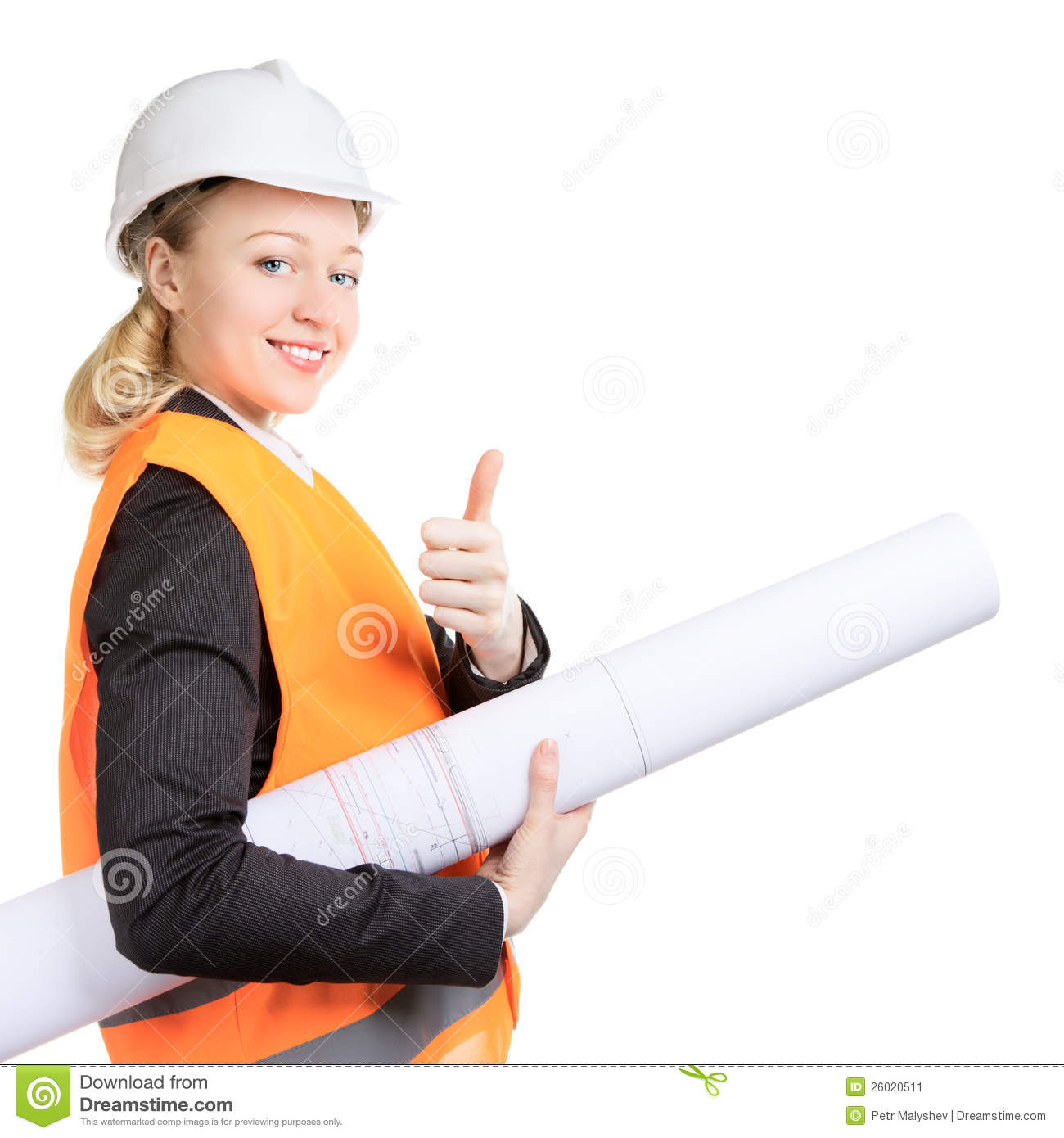 Stock Image Engineer Woman Thumbs Up Image26020511 on 2d house drawing