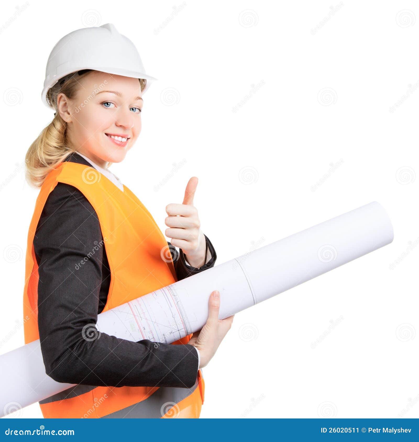 Engineer Woman Thumbs Up Stock Image Image 26020511