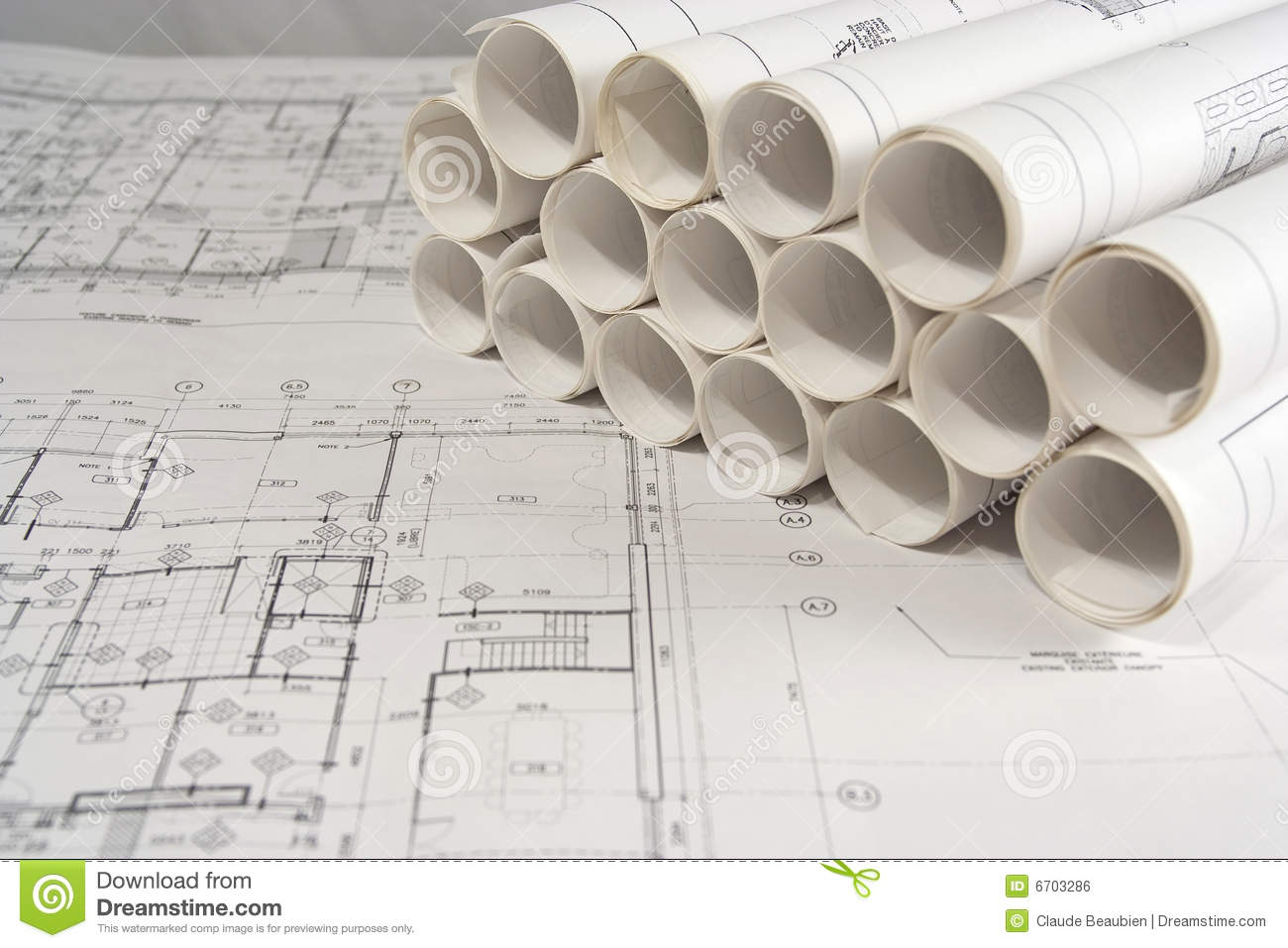 Engineering And Architectural Drawings Stock Photo Image