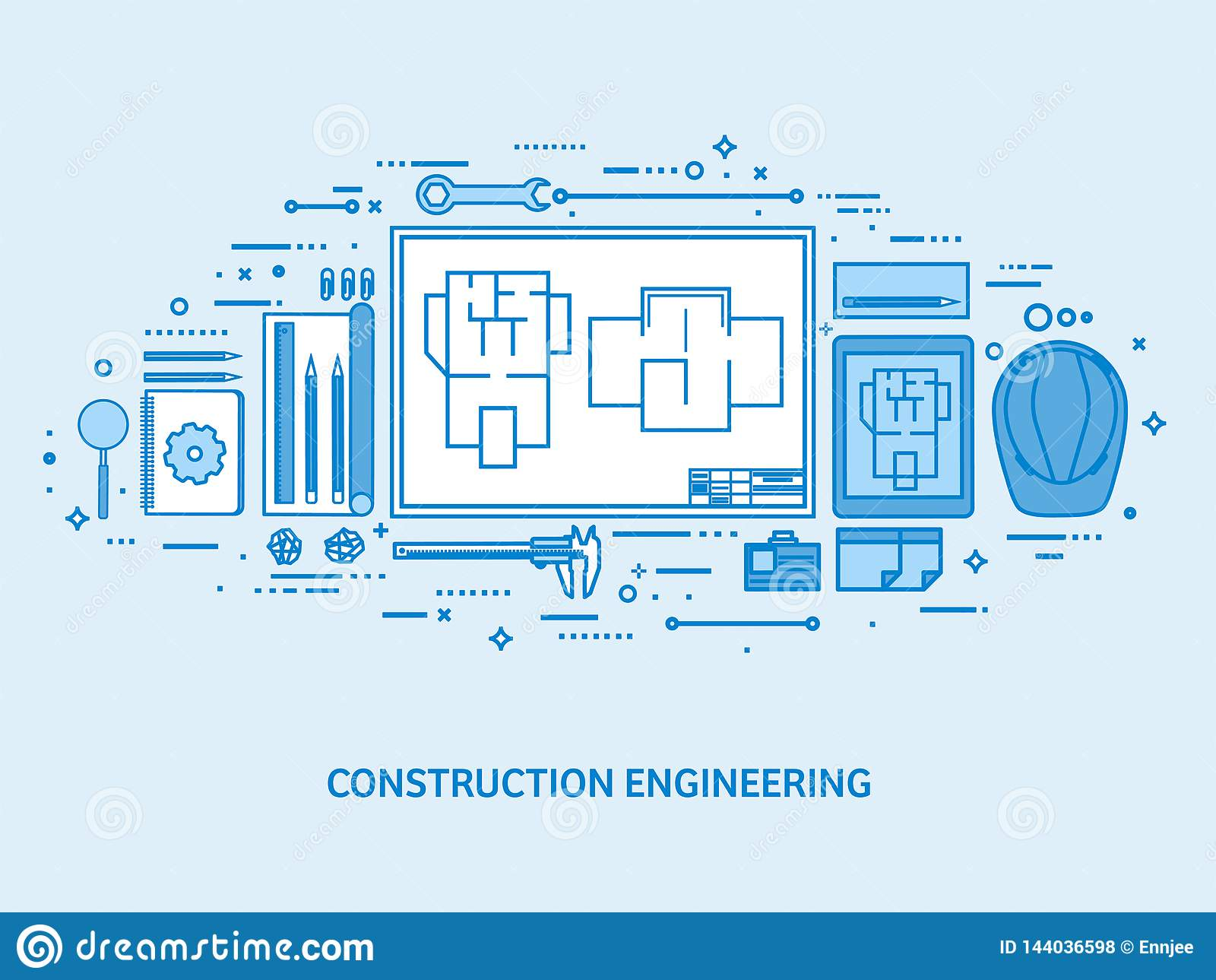 Engineering and architecture. Drawing construction. Architectural project. Design sketching. Workspace with tools