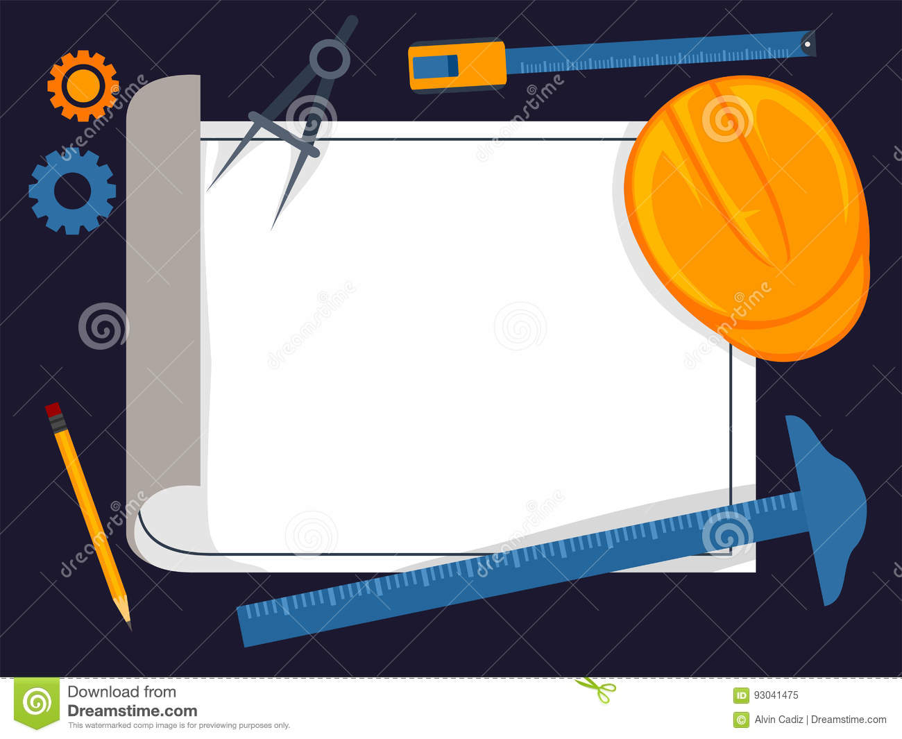 Set of architect tools on white blueprint royalty free for Architecture drawing tools