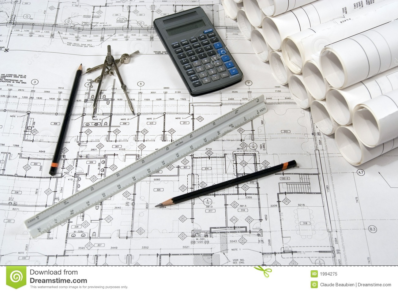 Engineering And Architecture Drawings Royalty Free Stock