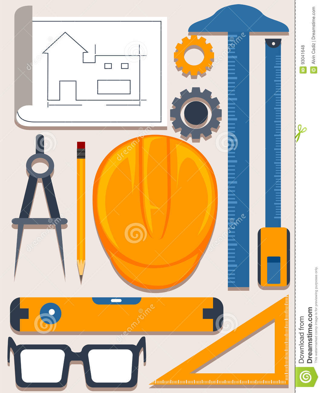 Set of architect tools on white blueprint royalty free for Architecture design tools free