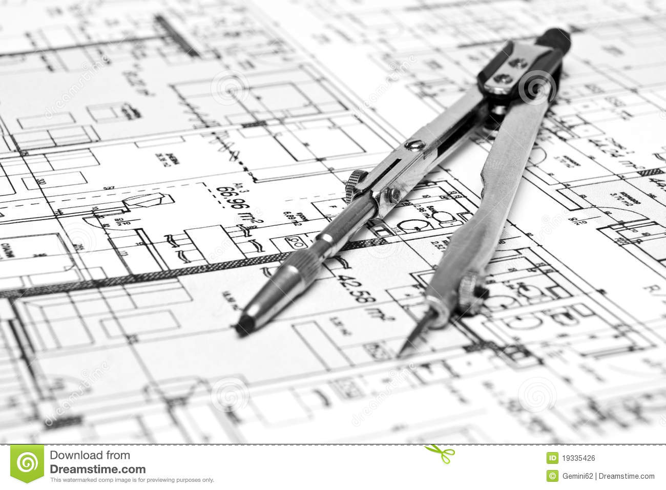 engineering blueprint and tools stock photo